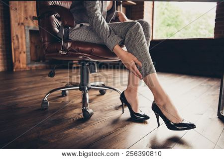 Close-up Cropped Classic Stylish Elegant Business Lady's Legs In