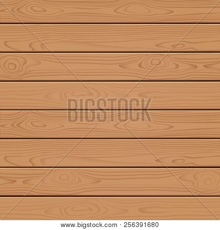 Wooden Wall. Vector Wood Texture. Horizontal Wood Plank