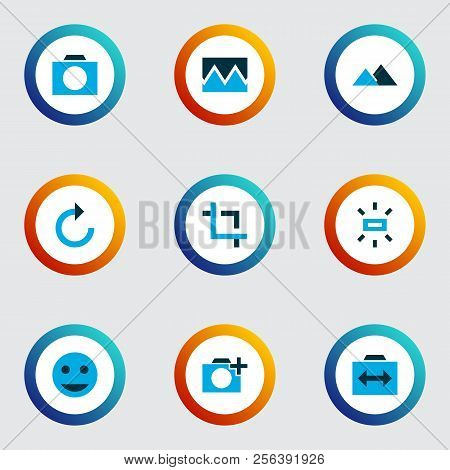 Image Icons Colored Set With Filter, Add A Photo, Photographing And Other Photo Elements. Isolated