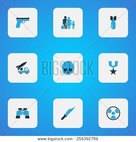 Warfare icons colored set with fugitive, armored car, cranium and other artillery elements. Isolated  illustration warfare icons. poster
