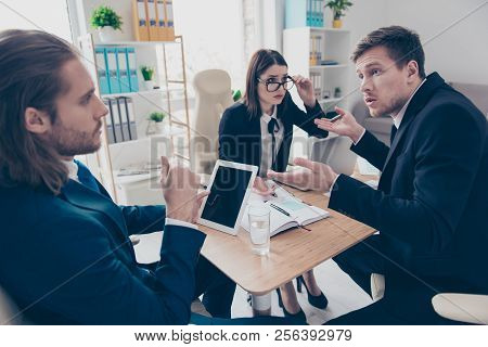 Three Business People Rivalry. Nice Lady In Glasses, Men Wearing Jackets, Deciding Problem Solving A