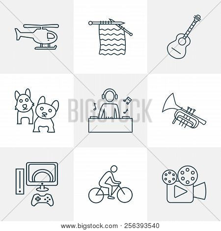 Lifestyle icons line style set with cinema, knitting, trumpet and other helicopter elements. Isolated vector illustration lifestyle icons. poster