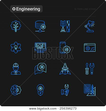 Engineering Thin Line Icons Set: Engineer, Electronics, Calculations, Tools, Repair, Idea, It Server
