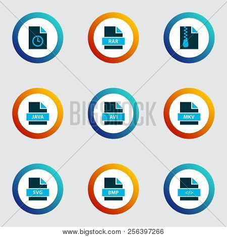 Document Icons Colored Set With File Svg, File Rar, File Archive And Other Programming Language Elem