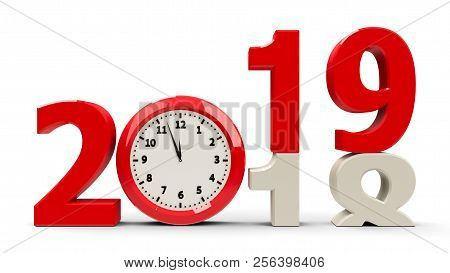 2018-2019 Change With Clock Dial Represents Coming New Year 2018, Three-dimensional Rendering, 3d Il