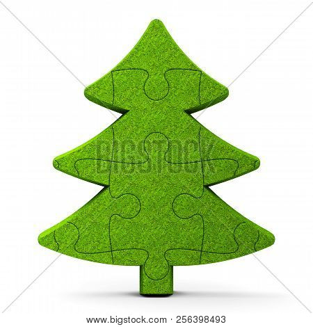 Green Puzzle Christmas Tree Sign Isolated On White Background, Three-dimensional Rendering, 3d Illus