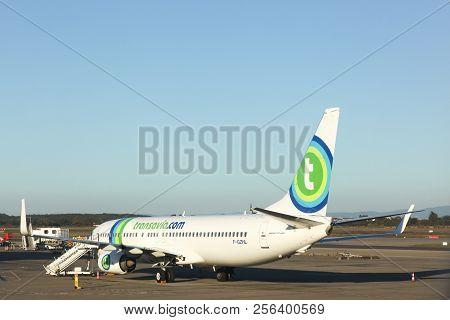 Lyon, France - October 12, 2017: Transavia Aircraft At Lyon Airport. Transavia Is A Dutch Low-cost A