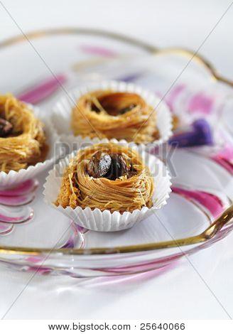 'Kunafa'- an arabic sweet in colorful palate