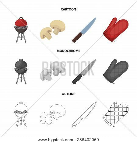 Barbeque Grill, Champignons, Knife, Barbecue Mitten.bbq Set Collection Icons In Cartoon, Outline, Mo