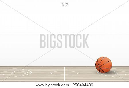 Basketball Ball On Basketball Court With Wooden Floor Pattern And Texture. Basketball Field Isolated