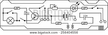 Electrical Circuit Of Radio Device (resistance, Transistor, Diode, Capacitor, Inductor). Vector Back