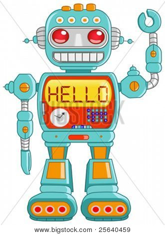 Retro robot toy waving hello