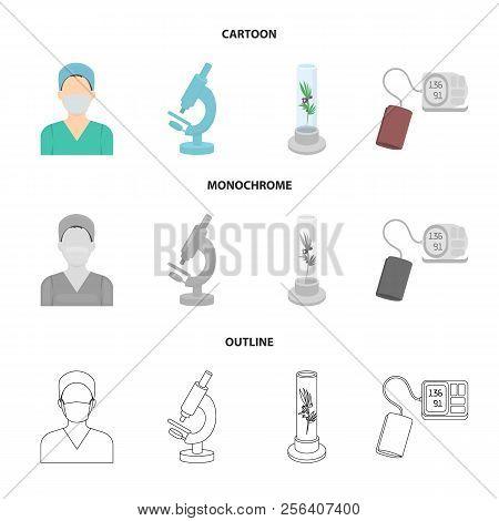 Plant In Vitro, Nurse, Microscope, Tonometer. Medicine Set Collection Icons In Cartoon, Outline, Mon