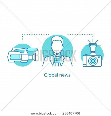 News Broadcasting Concept Icon. Videotaping. Global News Idea Thin Line Illustration. Video And Phot