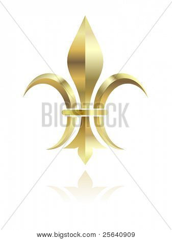 Golden Fleur de lys on white background