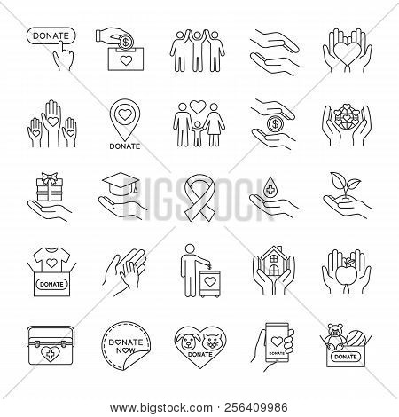 Charity Linear Icons Set. Thin Line Contour Symbols. Donation. Fundraising, Helping Hands, Volunteer