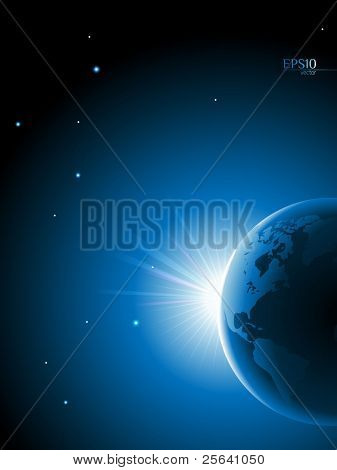 Planet earth on a space background