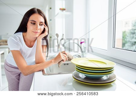 Dish Done, Nice Job! Adorable Charming Pretty Beautiful Stylish Well-groomed Girl Looking At Clean D