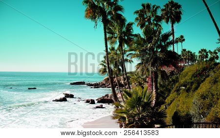 Beach Laguna Beach California Usa. Waves In The Pacific Ocean At Victoria Beach In Laguna Beach Cali