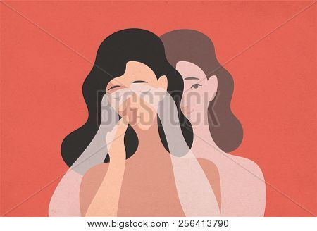 Sad Young Woman With Lowered Head And Her Ghostly Twin Standing Behind And Covering Her Eyes With Ha