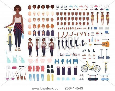 African American Teenage Girl Animation Kit Or Avatar. Bundle Of Teenager's Body Parts, Postures, Fa