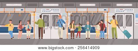 People Or City Dwellers In Metro, Subway, Tube Or Underground Train Car. Men And Women In Public Tra