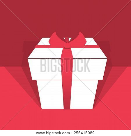 White Gift Box With Red Ribbon.vector Holiday Background