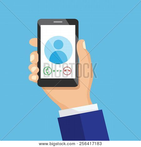 Receiving Phone Call Concept. Dialling, Calling On The Mobile Phone. Hand Holding Smart Phone In Mod