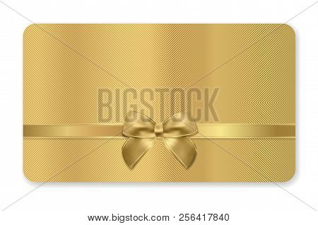Gift Card (gift Card Discount), Gift Coupon With Golden Ribbon, Gold Bow And Golden Pattern. Metal B