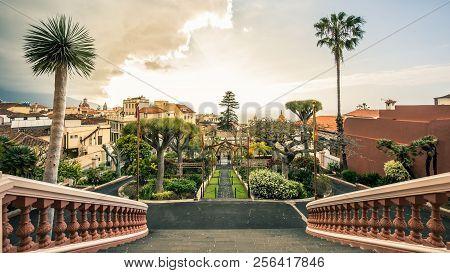 View On Gardens In La Orotava In Tenerife, Spain.