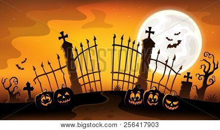 Cemetery Gate Silhouette Theme 5 - Eps10 Vector Picture Illustration.