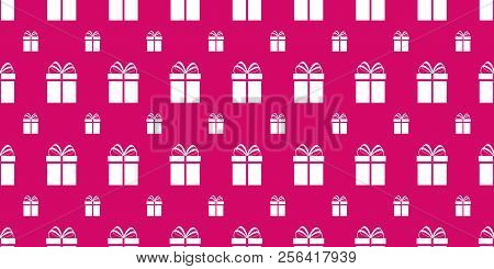 Gift Boxes Seamless Pattern. Bright Pink Holidays Background. Simple Flat Present Icon. Repeat Textu