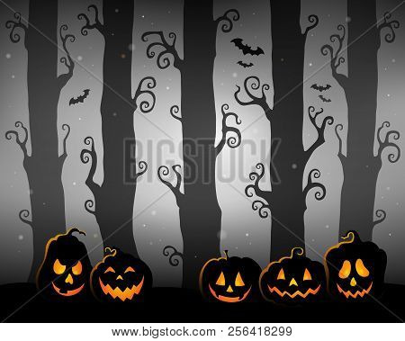 Halloween Forest Theme Image 3 - Eps10 Vector Picture Illustration.