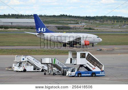 Helsinki, Finland - August 22: Sas Airlines Aircraft At Helsinki-vantaa Airport On August 22, 2018.