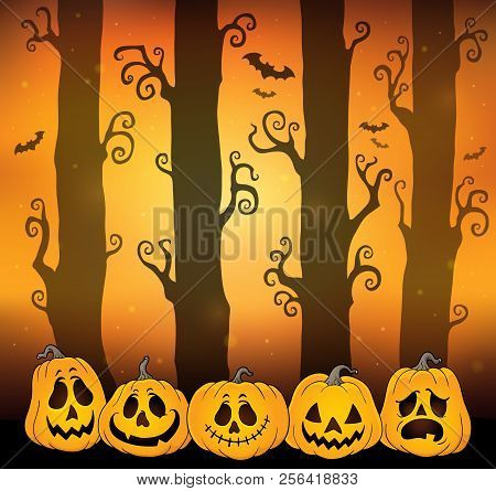Halloween Forest Theme Image 6 - Eps10 Vector Picture Illustration.