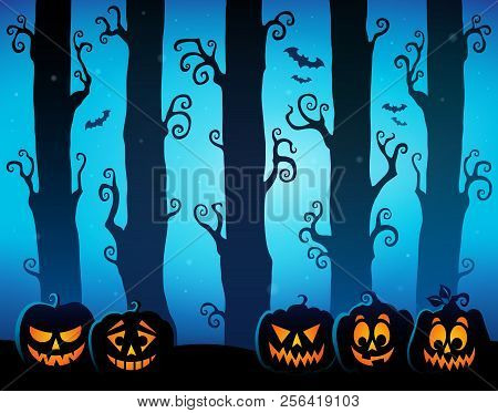 Halloween Forest Theme Image 8 - Eps10 Vector Picture Illustration.
