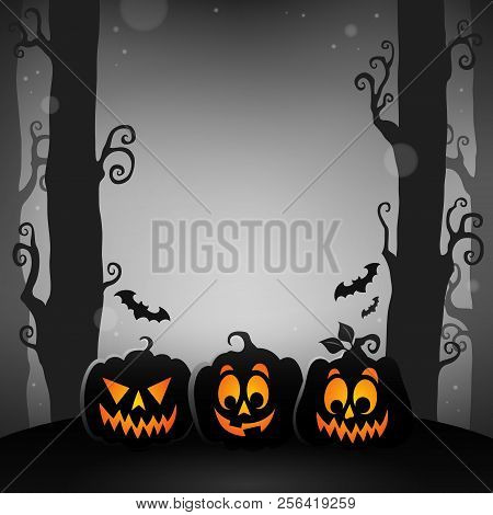 Halloween Forest Topic Image 1 - Eps10 Vector Picture Illustration.