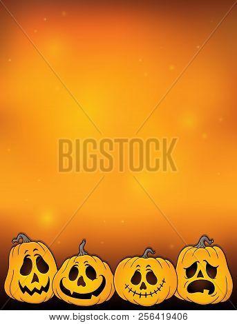 Halloween Pumpkins Thematics Image 2 - Eps10 Vector Picture Illustration.