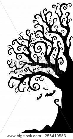 Halloween Tree Half Silhouette Theme 1 - Eps10 Vector Picture Illustration.