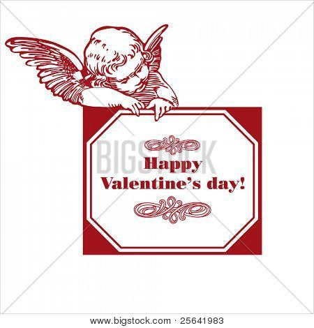 happy valentine's day card with cupid isolated over white