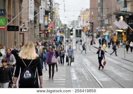 Helsinki, Finland - August 30: Unidentified People In Helsinki Old Town, Finland At August 30, 2018.