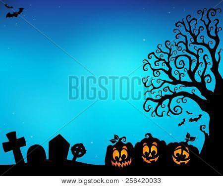 Halloween Tree Half Silhouette Theme 5 - Eps10 Vector Picture Illustration.