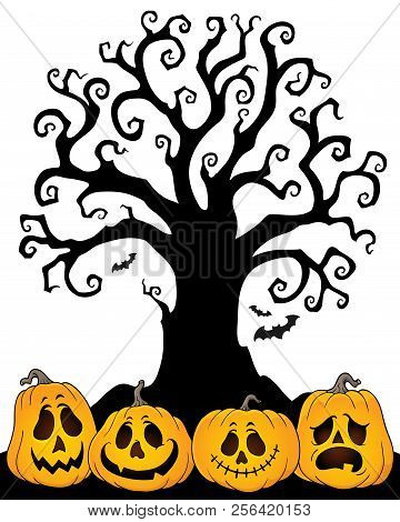 Halloween Tree Silhouette Topic 2 - Eps10 Vector Picture Illustration.