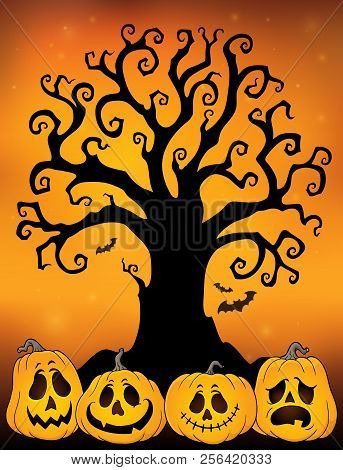 Halloween Tree Silhouette Topic 3 - Eps10 Vector Picture Illustration.