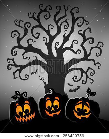 Halloween Tree Silhouette Topic 5 - Eps10 Vector Picture Illustration.