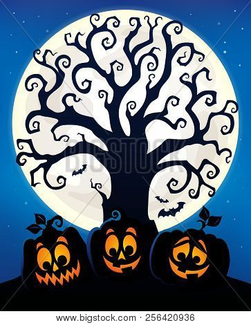 Halloween Tree Silhouette Topic 6 - Eps10 Vector Picture Illustration.