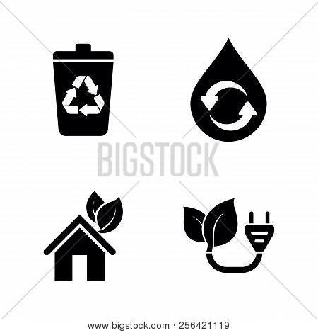 Ecology, Eco. Simple Related Vector Icons Set For Video, Mobile Apps, Web Sites, Print Projects And