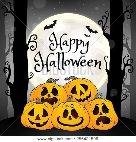 Happy Halloween Composition Image 5 - Eps10 Vector Picture Illustration.