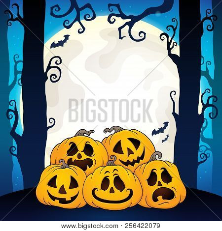 Pile Of Halloween Pumpkins Theme 3 - Eps10 Vector Picture Illustration.
