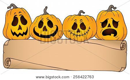 Wide Parchment And Halloween Pumpkins 4 - Eps10 Vector Picture Illustration.